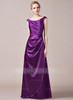 A-Line/Princess Off-the-Shoulder Floor-Length Charmeuse Bridesmaid Dress With Ruffle (007050049) - $118