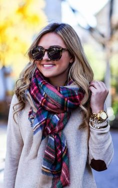 Fall Outfit With Elbow Patch Sweater,Plaid and Leopard Frame Shades