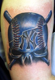baseball tattoos | Paradise Tattoo Gathering : Tattoos : Oddities : Yankee skull ball