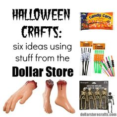 Six craft ideas for Halloween with stuff from the dollar store! Love the skeleton or pumpkin light idea!