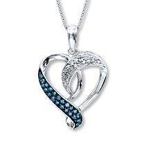 Blue  White Diamond Necklace Sterling Silver.the contrast of metal with the black behind the blue diamonds is just breath taking next to the white dimonds.