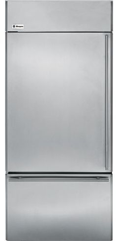 "ZICS360NXLH GE Monogram Energy Star 36"" Built-In Bottom-Freezer Refrigerator - Left Hinge - Stainless Steel"