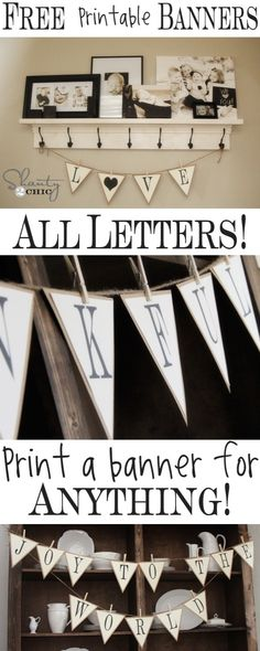 Free Printable: Black and White Alphabet Bunting Banner, hunting with clothes pegs! Never thought of that!