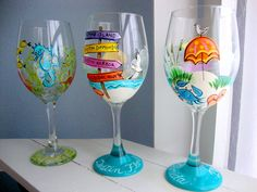 Hand painted wineglasses by Denise