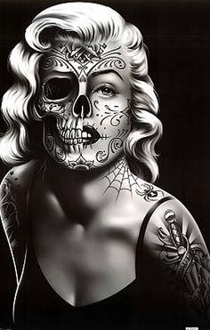 Skull Face Drawing blond art cool skull drawing woman face halloween artwork