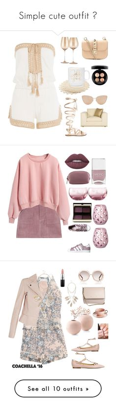 """""""Simple cute outfit """" by nikola-sperlikova ❤ liked on Polyvore featuring Anna Kosturova, Gianvito Rossi, Valentino, MAC Cosmetics, Cutler and Gross, adidas Originals, Royal Albert, Nails Inc., Lime Crime and Kevyn Aucoin"""