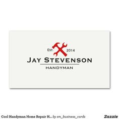 Cool Handyman Home Repair Hammer and Wrench Logo Business Card. Great for contractors and carpenters.