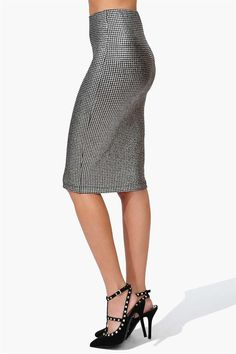 Shimmer Pencil Skirt in Silver