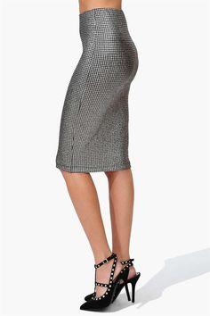 Shimmer Pencil Skirt in Silver