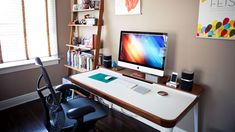 Not every home has room for an office, and often times a home office means giving up room for another practical space. Creative director and filmmaker Garret Murray decided to turn his master bedroom into an office for him and his wife plus a space for guests, to put the large room to good use.