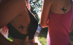 Air plane tattoos for long substance best friends. #tattoos #minimalisttattoos #airplanetattoo #bestfriendtattoos
