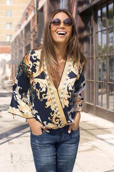 Trending Fashion | Women's Navy & Gold Print Overlay Top by Boston Proper.