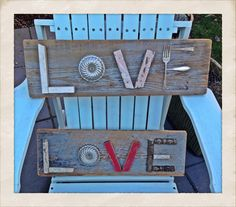 Love signs made from reclaimed wood & random things.
