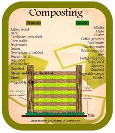 """Too many greens will make a compost pile too moist and """"slimy,"""" while too many browns will be too dry. Composting 101, Compost Soil, Garden Compost, Garden Soil, Edible Garden, Garden Landscaping, Vegetable Garden, Farm Gardens, Outdoor Gardens"""