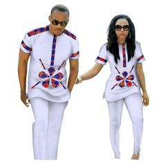 African Clothing Couples Top-Pants Sets For Lovers Bazin Sweet Flower African Clothing Couples Top-Pants Sets for Lovers Bazin Riche Sweet Flower Pattern African Shirts For Men, African Attire For Men, African Clothing For Men, African Wear, African Style, African Fashion Designers, African Print Fashion, Africa Fashion, Ankara Fashion
