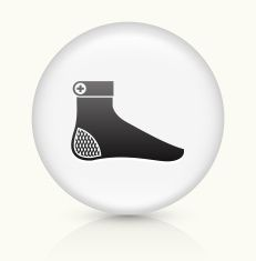 Foot icon on white round vector button vector art illustration