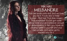 I got Melisandre. Which 'Game of Thrones' girl are you?  - Quiz