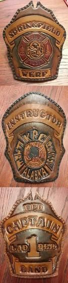 Hand-tooled, made-to-order leather firefighter helmet shields customized with your name, department or fire crew. | Shared by LION