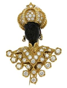 18K GOLD & 7 carats diamonds BLACKAMOOR FORTUNE TELLER BROOCH Value $35,000.00 ~ NOW   ~ $19,500.00 buy two!! Yeah right