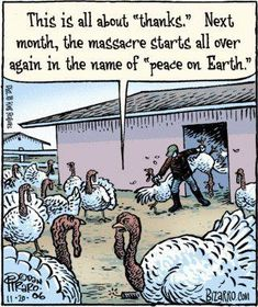 "I've always been wondering why we celebrate our religion by slaughtering other beings. We don't have thanksgiving here, but what about that stupid easter lamb tradition? - Can't really pin this to my ""Funny"" board ..."