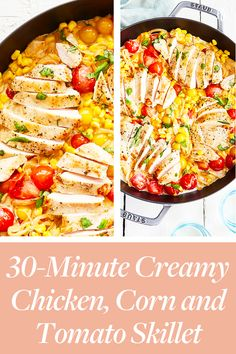 30-Minute Creamy Chicken, Corn and Tomato Skillet  #purewow #dinner #easy #food #cooking #recipe