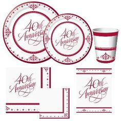 40th Anniversary Paper Plates and Napkins - Party at Lewis  sc 1 st  Pinterest & 40th Wedding Anniversary Cake Topper | Parties and Gatherings ...