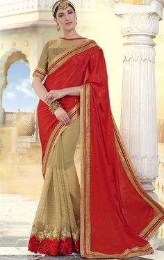 Picture of Gleaming Beige and Red Designer Wedding Saree