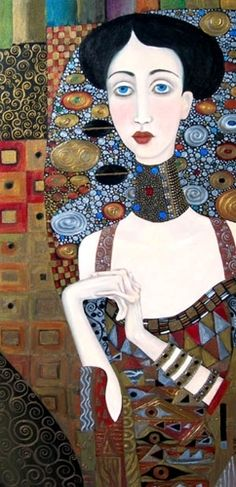 Folk style interpretation of Gustav Klimt's 1907 portrait of Adele Bloch- Bauer by Wendy Ryan.
