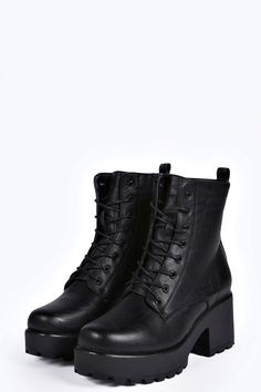 Rebecca Lace Up Cleated Worker Boot at boohoo.com 28 quid
