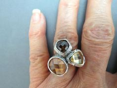 925 Sterling Silver Ring Briolette Cut Crystal Stones Lavender Amber 8 Wide 20g #Cocktail