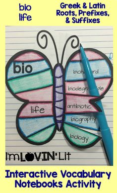 Bio - Life; Greek and Latin Roots, Prefixes and Suffixes Foldables; Greek and Latin Roots Interactive Notebook Activity by Lovin' Lit