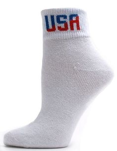 American Made Women's USA Logo Quarter Socks - 3 Pairs - White by Alabama Wholesale. $7.95. Show your patriotism through your footwear! As one of our popular products the USA Logo socks are now available in different styles including this new quarter sock variety. With a solid white body reinforced heel and toe and a rise of approximately 1.5 to 2 inches above the ankle you are sure to enjoy these excellent athletic socks with a bit of personalized flair. Made in the USA.