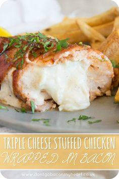 Triple Cheese Stuffed Chicken Wrapped in Bacon is the ultimate chicken dinner. Baked in a BBQ glaze, this stuffed chicken recipe couldn't be more of a treat if it tried! Chicken Wraps, Baked Chicken, Sesame Chicken, Chicken Bacon, Bacon Wrapped Stuffed Chicken, Cream Cheese Stuffed Chicken, Stuffed Chicken Recipes, Healthy Dinner Recipes, Cooking Recipes