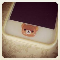 Rilakkuma iPhone Home Button by PetitBijouxBoutique on Etsy