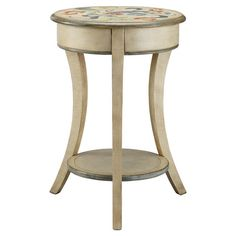 Found it at Wayfair - Floral & Leaf Painted Treasures End Table in Light