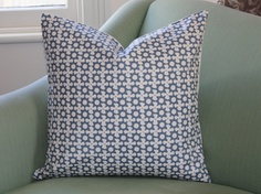 Clarke & Clarke Blue and White Cushion Cover 20 Inch. $40.00, via Etsy.