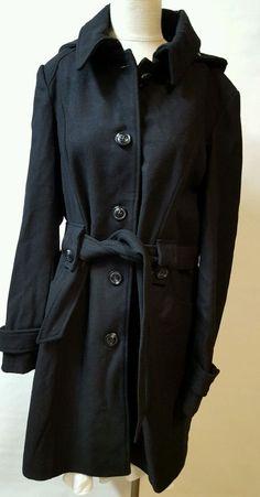 LIz Claiborne Black Long Trench Coat Size XLT Wool Blend Buttons Hood new #LizClaiborne #Trench #Business