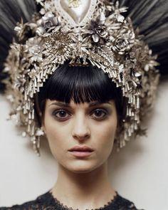 Beautiful head dress, black hair