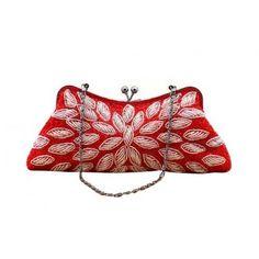 Womens Handmade Flora Beaded Evening Party Handbag Purse Clutch Munaudiere-Red