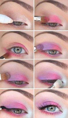 Lila und rosa Augen-Make-up Makeup - makeup products - makeup tutorial - makeup tips - Source makeup Pink Eye Makeup Looks, Pink Makeup, Cute Makeup, Pretty Makeup, Bright Makeup, Simple Makeup, Purple Fairy Makeup, Retro Eye Makeup, Pastel Goth Makeup