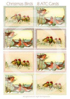 CHRISTMAS BIRDS  8 Cristmas ATC Cards  by HighTeaInspirations