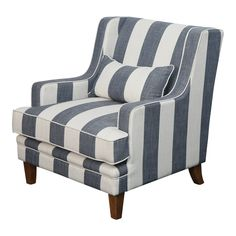 Shop Shoreham Denim and Cream Striped Armchair at Interiors Online. Exclusive High End Furniture.