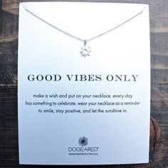 """dogeared """"Reminder - Good Vibes Only"""" dainty necklace in sterling silver"""