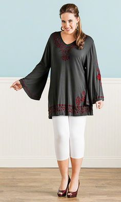 Cordelia Embroidered Top in Gray / MiB Plus Size Fashion for Women / Summer Fashion / Caite http://www.makingitbig.com/product/4925