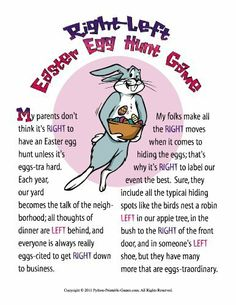 Free easter leftright game easter party games pinterest printable easter bunny left right gift exchange game game download by python printable negle Choice Image