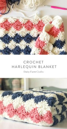 Free Pattern - Crochet Harlequin Blanket - Carola Free Pattern - Crochet Harlequin Blanket - Knitting works add time when ladi. Crochet Diy, Beau Crochet, Crochet Simple, Crochet Afghans, Baby Blanket Crochet, Crochet Blankets, Crochet Ideas, Baby Afghans, Free Crochet Blanket Patterns Easy