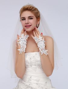 Ivory Rhinestone Polyester Wrist Length Wedding Gloves With Lace. Get awesome discounts up to 70% Off at Milanoo using Coupon & Promo Codes.