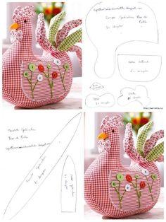 very cute chicken pattern Easter Crafts, Felt Crafts, Fabric Crafts, Sewing Toys, Sewing Crafts, Hobbies And Crafts, Diy And Crafts, Doll Patterns, Sewing Patterns