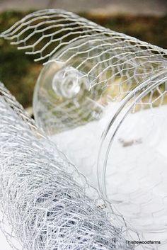 How to wrap chicken wire around a jar.   Tutorials   Pinterest ...