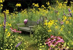 love the flowers and bench. peaceful